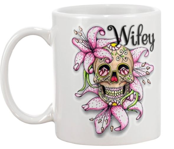 Sugar skull hubby and wifey mugs