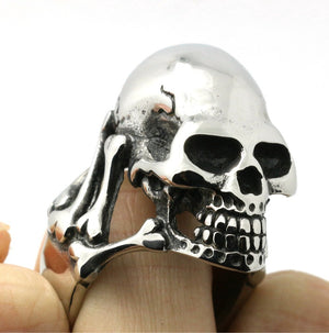 40g Mens Biker 316L Stainless Steel Very Heavy Skull Ring