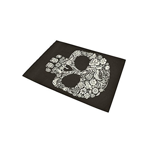Sugar Skull Day Of The Dead Area Rug Floor Mat 5' x 3'3 , Floral Flower Black Mexican Style Throw Polyester Rayon Fiber Carpet Rugs for Home Living Room Bedroom Decor