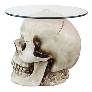 Design Toscano JQ103776 Lost Souls Gothic Skull Glass-Topped Table, Bone