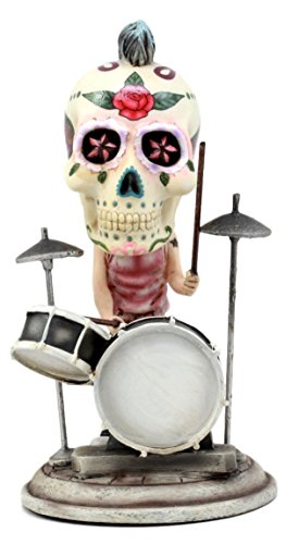 "Ebros Gift Day Of The Dead Tattoo Skeleton Rock Drummer Bobblehead Figurine 6.5""L Halloween Statue Decor"