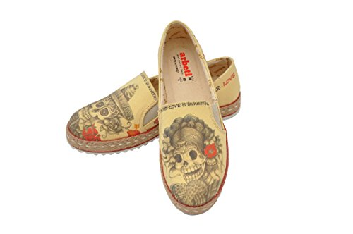Women Shoes Sugar Skull Design Beige Espadrille Cover Dia de Los Muertos
