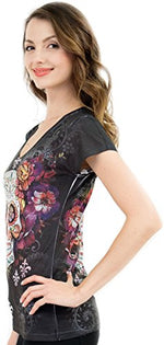 Sweet Gisele Sugar Skull V-Neck T Shirt Day of The Dead Rhinestones Bling for Women Black