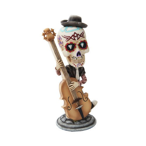 7 Inch Day of The Dead Bobblehead Bass Player Painted Figurine