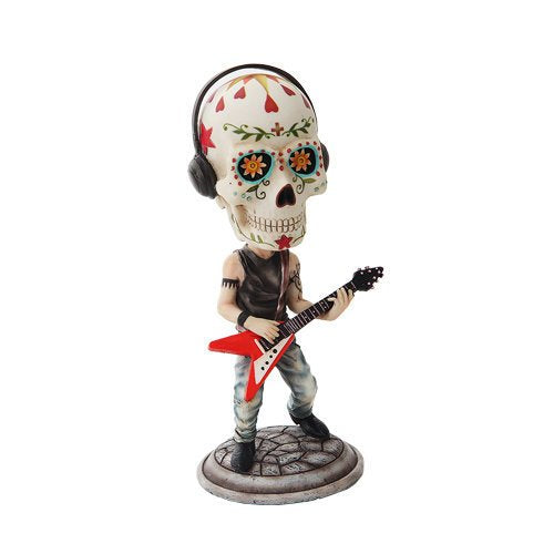 7 Inch Day of The Dead Bobblehead Guitarist Painted Figurine