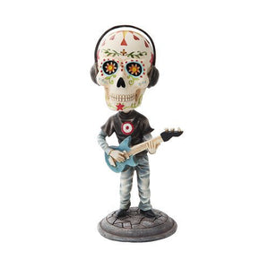 7 Inch Day of The Dead Bobblehead Electric Bass Player Figurine