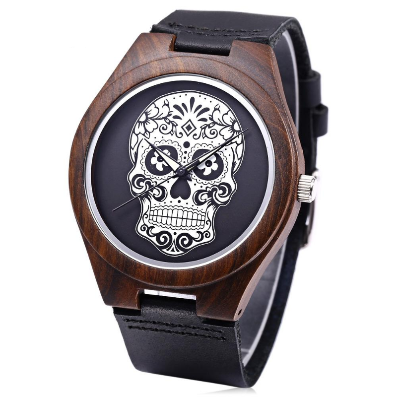 Quartz Watch Imported Movt Skull Pattern Dial Wooden Case Wristwatch