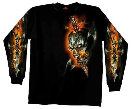 Hot Leathers Electric Skull Long Sleeve Biker T-Shirt (Black, Large)