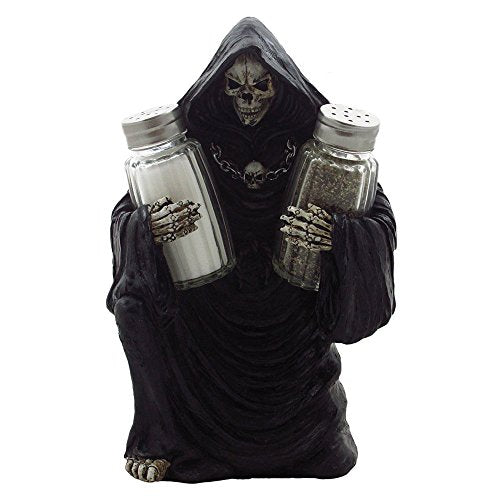Grim Reaper Glass Salt and Pepper Shaker Set Sculpture for Gothic Bar and Kitchen Table Halloween Decor Figurines and Statues and Medieval & Fantasy Skulls and Skeletons Gifts by Home-n-Gifts