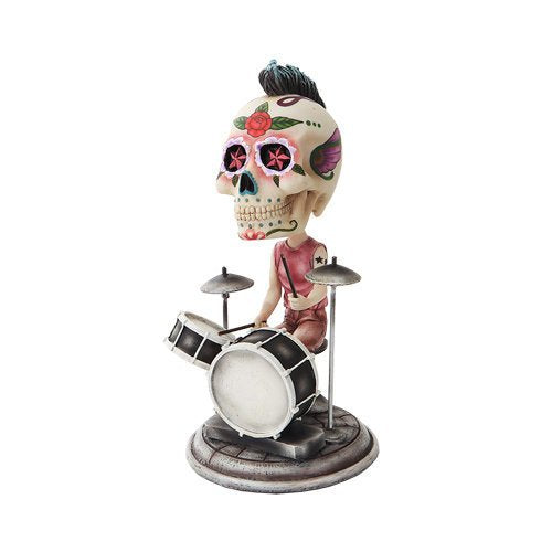 6.5 Inch Day of The Dead Bobblehead Drummer Painted Figurine