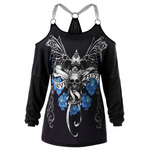 Women T-Shirt Plus Size Chains Embellished Skull T-Shirt Punk Casual Off Shoulder Ladies Tops Gothic Tshirt Big Size 5XL
