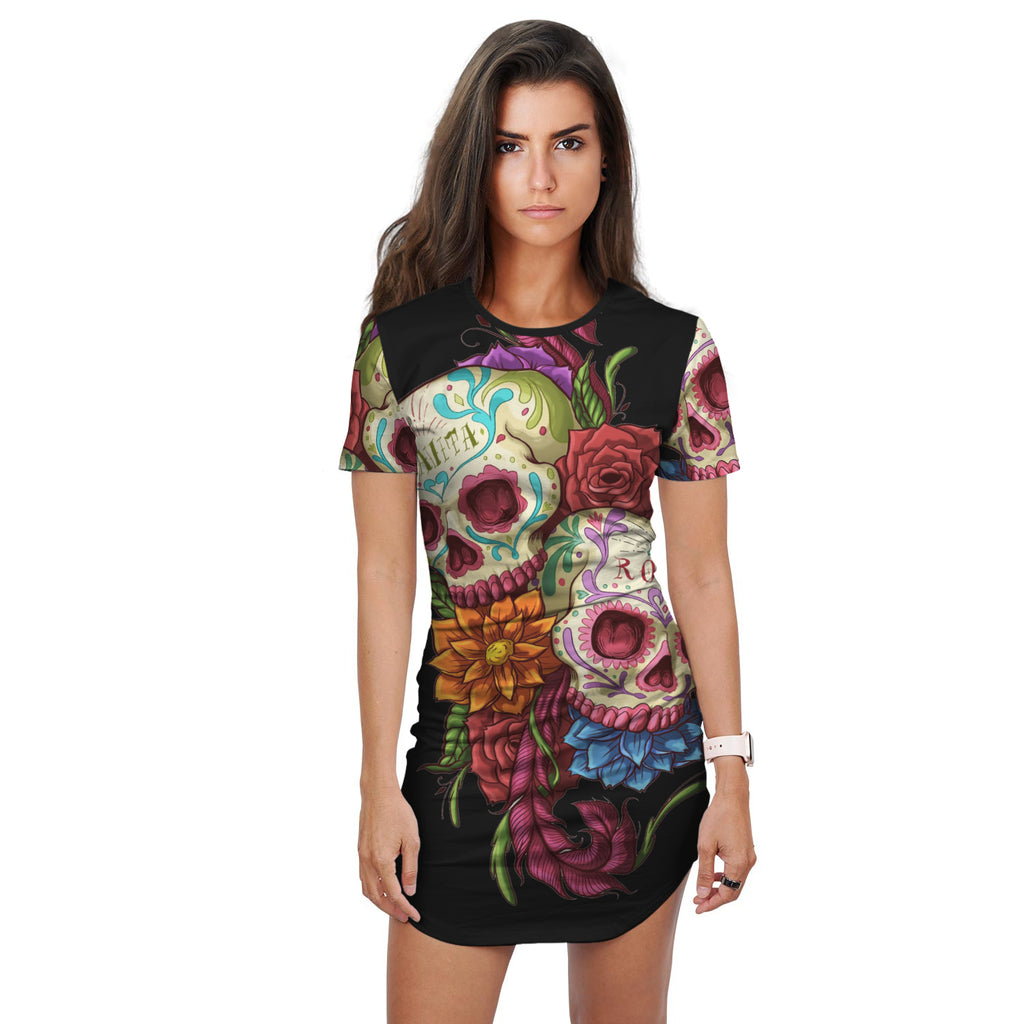 Rose floral sugar skull dress