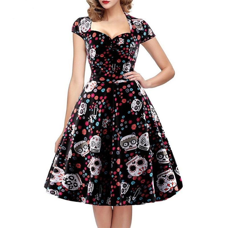 Skull Print Dress Women Vintage Square Collar Wrapped Chest