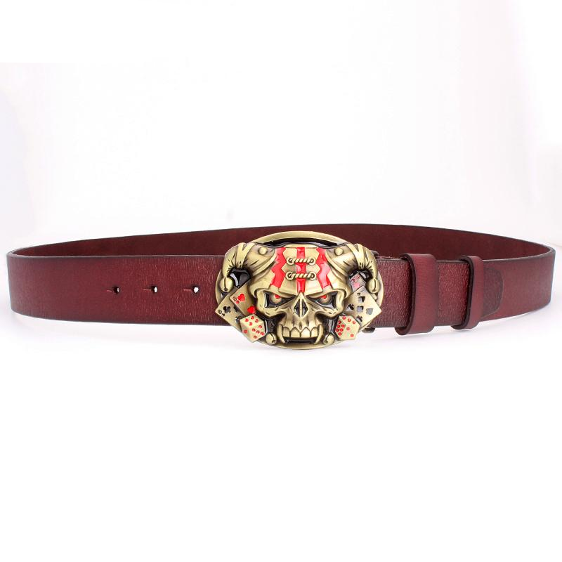 Cool belt for men punk belt golden skull buckle Skull clown pattern cow leather Gambler Skeleton hip hop belt men's gift