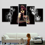 5 Panel Painting Canvas Wall Art Sugar Skull Modular Picture HD Prints Artwork for Home Decor Living Room