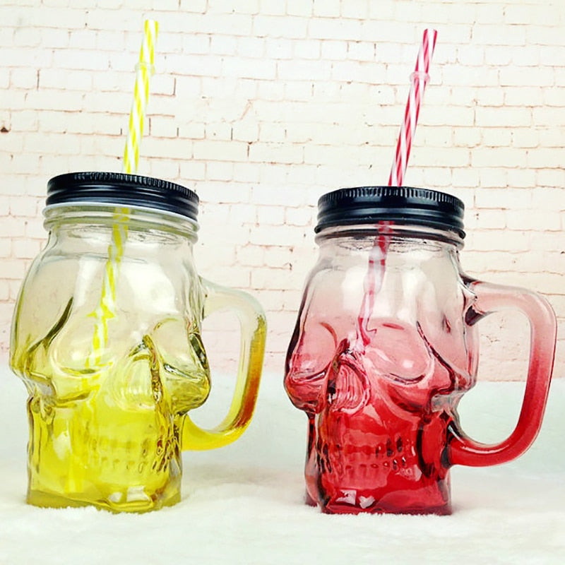 500ml colored skull straw mug with lid handle Mason bottle juice drink