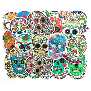 50Pcs Colorful Skull Car PVC Sticker Sugar Skull Stickers