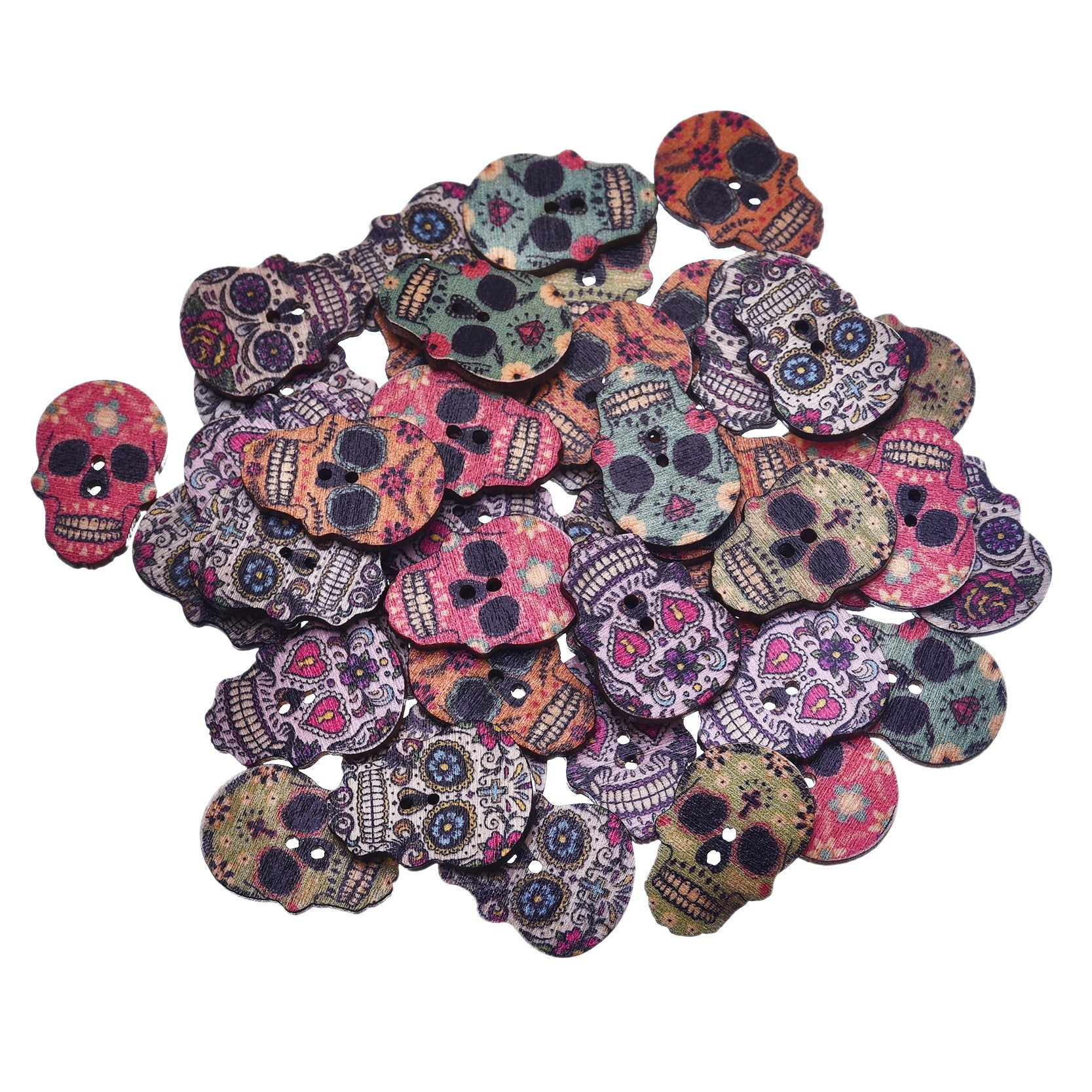 50Pcs Skull Shaped 2 Holes Wooden Buttons