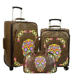 Sugar Skull Collection 3 PC Luggage Set - Coffee