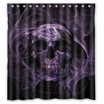 Black and Purple Skull Shower Curtain Decoration Mildew Waterproof