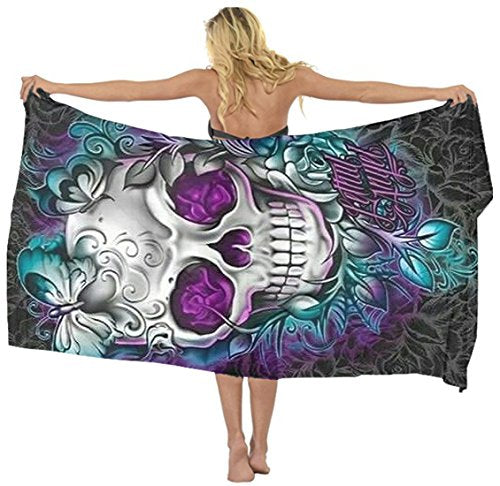Beach scarf cover up butterfly sugar skull Sarong Wrap Chiffon skirt