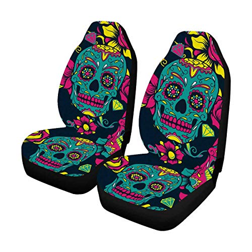 Day of The Dead Sugar Skull with Floral Front Car Seat Covers Set of 2