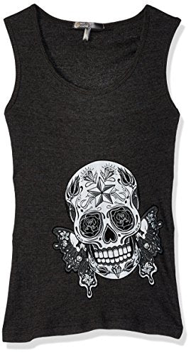 Hot Leathers Butterfly Sugar Skull Women's Full Length Boy Beater Tank Top (Heather Charcoal, Medium)