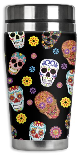 Sugar Skull Toss Travel Mug with Insulated Wetsuit Cover, 16 oz, Black
