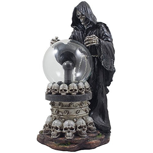 Evil Grim Reaper with Crystal Ball of Lightning Bolts on Pedestal of Skulls Statue and Decorative Table Lamp for Halloween Lighting Decorations & Scary Gothic Décor Lights As Spooky Fantasy Gifts