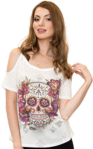 Sweet Gisele Woman Sugar Skull Open Shoulder Tee | Beautiful Print Decorated with Sparkling Bling Rhinestones