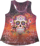 Sweet Gisele Sugar Skull Racer Back Tank Top with Rhinestones