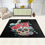 Cactus Rose Flower Sugar Skull Dia De Los Muertos Area Rug Rugs for Living Room Bedroom 5'3 x 4'