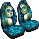 DealioHound Calavera (Day Of The Dead/Dia De Los Muertos) Halloween Design #2 (Turquoise) Microfiber Car Seat Covers/Protectors - Universal Fit (Set Of 2)