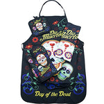 National Concepts Day of The Dead Sugar Skull Kitchen Apron Set - 4 Pieces (1) Unisex Fits Most Apron (1) Kitchen/Tea Towel (1) Pot Holder (1) Oven Mitt