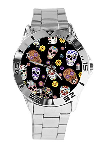 Sugar Skull Toss Custom Analog Quartz Stainless Steel Bracelet Wrist Watches For Men's Women's Gift