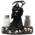 Grim Reaper Salt and Pepper Shaker Set with Display Stand Figurine of Skulls & Skeletons