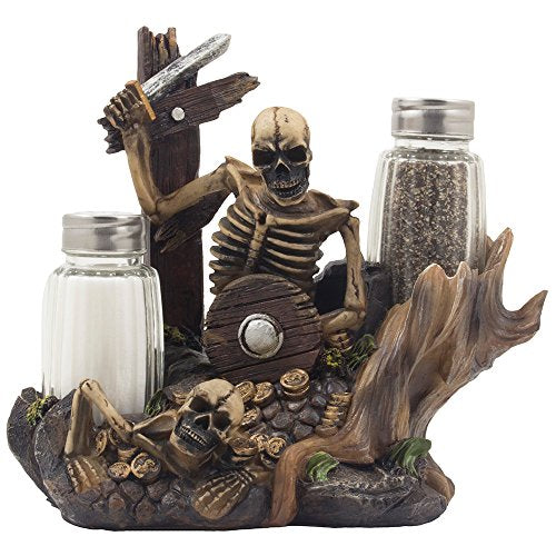 Skeleton Pirate Guarding Gold Treasure Salt and Pepper Shaker Set and Decorative Figurine Display Stand Holder for Halloween Decorations or Nautical Kitchen Table Decor As Gifts of Skulls & Skeletons