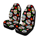 Mexican Dia Los Muertos Sugar Skulls Roses Front Car Seat Covers Set of 2