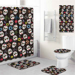 5Pcs/Set 3D Skull Shower Curtain Bath Rug Set