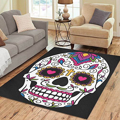 InterestPrint Sugar Skull Day of the Dead Area Rug Floor Mat 7' x 5' Feet, Mexican Dia De Los Muertos Throw Rayon Fiber Carpet Rugs for Home Living Dining Room Decoration