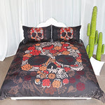 ARIGHTEX Artistic Floral Sugar Skull Bedding Vintage Skull Coffee Swirls Pattern 3 Piece Decorative Duvet Cover with 2 Pillow Shams (Queen)