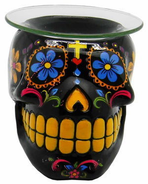Black Day of the Dead Sugar Skull Oil Burner