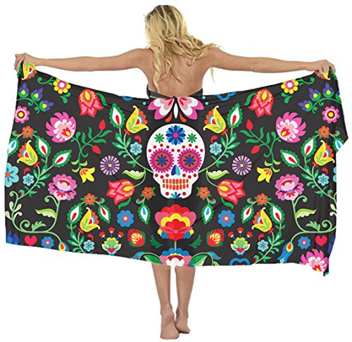 AMERICAN TANG Swimwear Cover up Beach Sarong Wrap Mexican Sugar Skulls Floral Scarf skirt