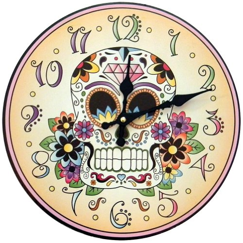 1 X Day Of The Dead Clock Skeleton Flowers Halloween Mexican Tradition Artwork