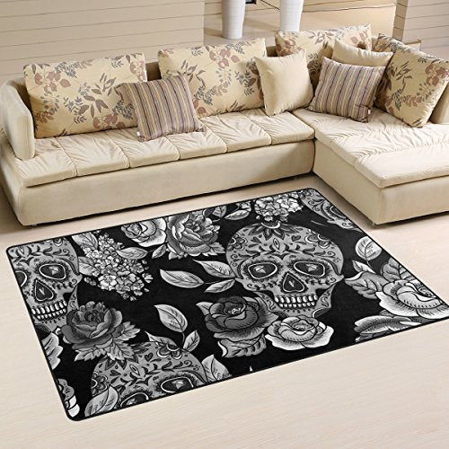 "Sugar Skull Dia De Los Muertos Playmat Floor Mat For Dining Room Living Room Bedroom,Size 2'7""X1'8"" and 5'X3'3"" Available."