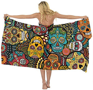 Swimwear Cover up Beach Sarong Wrap Mexican Sugar Skulls Scarf