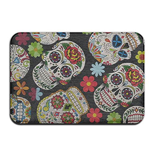 "Sugar Skull Coral Velvet Memory Foam Mats Non-Slip Kitchen Mats, Bath Mats,Welcome Door Mat, Doormat Indoor/Outdoor 15.7"" X 23.6"""