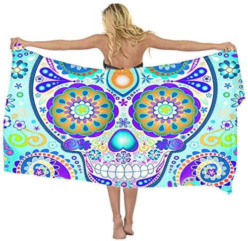 Swimwear Cover up Beach Sarong Wrap Mexican Sugar Skulls Floral Scarf skirt