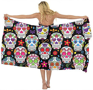 Scarf cover up Day Of The Dead Sugar Skull black Beach Sarong Wrap Scarf