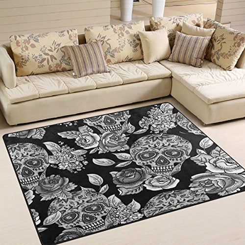 Monochrome Floral Sugar Skull Day of the Dead Area Rug Rugs for Living Room Bedroom